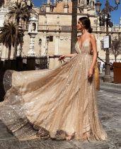 Sexy V-neck dress with long dress YL1201
