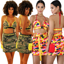 Fashion Bandage Bra Top Camouflage Wrap Skirt T3311H