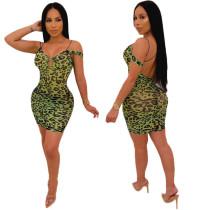 Factory Price Women Clubwear Leopard Print Mini Dress N9103