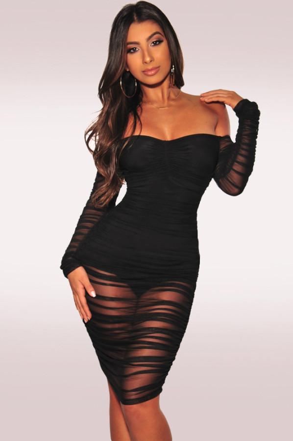 Sexy mesh shoulder-leaking dress MZ2337