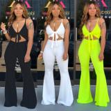 Plain Color Bra Top High Waist Flares Pants Women Sets CY1175