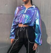 Sparkling Colorful Long Sleeves Crop Tops LQ3524W10