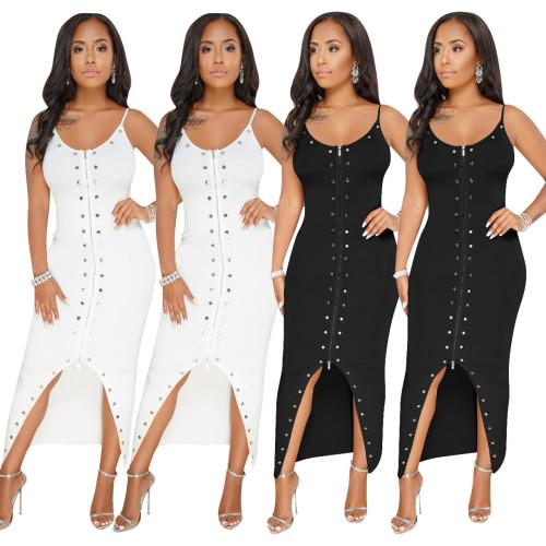 Sexy Double Zipper Rivet Deco Spaghetti Strap Ladies Dress Q099