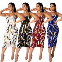 Stylish Printing Condole Belt Casual Midi Dress LS6242