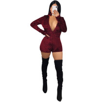 New Arrival Winter Bodycon V Neck Short Jumpsuits R6141