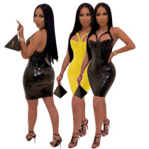 Online Sale Bodycon Sleeveless Pu Leather Mini Dresses YYZ823
