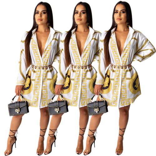 Women Leisure Printing Cardigan Long Sleeves Shirt Dress E8405