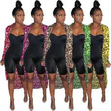 Casual Mesh Leopard Print Irregular Cardigan Shirt Coat R6225