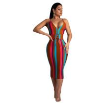 Strappy Colorful Striped Midi Dress W8158
