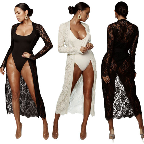 Lace Outfits One Piece Bodycon Top Long Sleeves Coat MY9396