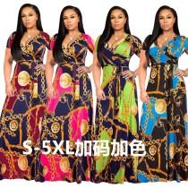Plus Size Elegant Printing V Neck Maxi Dress With Belt X9120