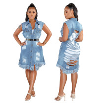 Fashion Ladies Slit Denim Ripped Sleeveless Midi Dress SMR9327