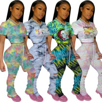 Printed hole casual sports suit straps MY9629