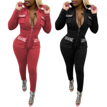 Hot Sale Embroidery High Waist Tight Jumpsuit With Zipper OEP5306