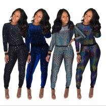 Nightclub Women's Wholesale Sexy Sequin Long Sleeve Multicolor Set FSL222