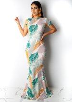 Short Sleeve Leaf Print Long Dress Boho LML035