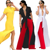 Newest Pure Color Long Shirt Split Dress With Belt DN8273
