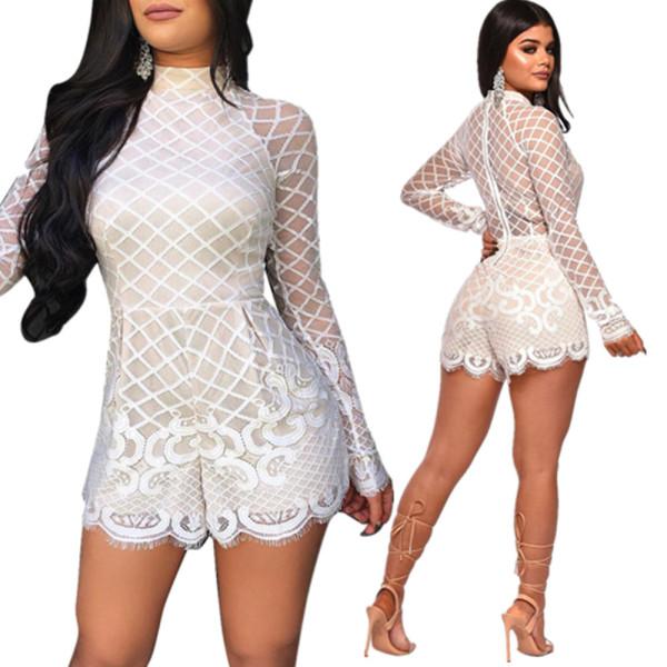 Latest Bodycon White Mid Waist Lace Jumpsuit DN8207