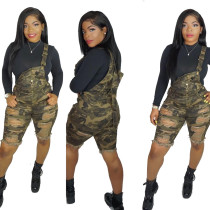 Camouflage Print Strappy Slit Romper Shorts QQ5083