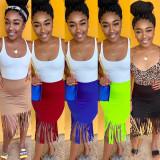 Sexy slim tassel pack hip skirt bottoms nightclub dress VN8838