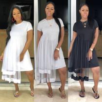 New Design Round Neck Mesh Patchwork Women Dress M882