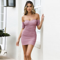 Sexy tube top mesh pleated dress ZY9802