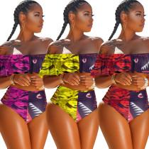 Summer new fashion stitching ruffled sexy swimsuit H1358