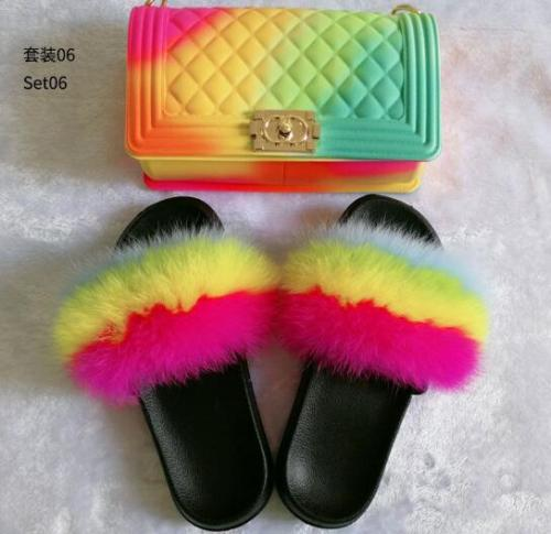 Color frosted diamond check big Chanel jelly bag with fox fur grass lady slippers set JBD00802