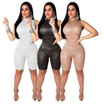 Women Clubwear Sleeveless Shiny Mid Jumpsuit SMR9162