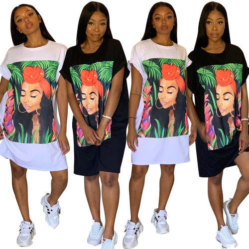 Cheap Loose Black/White Printing T-Shirt Dress TRS965