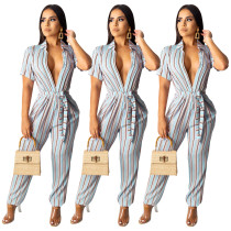Casual Tight Button Down Stripe Jumpsuit With Belt SDD9151