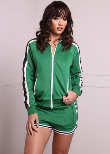 Latest Webbing Patchwork Sport Outfits With Zipper ARM8120