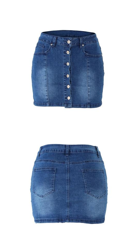Steak-buttoned jeans skirt, women's hip skirt Q6066