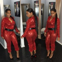 Fashion Sequin Long Sleeve Bodycon Jumpsuit For Ladies L0242