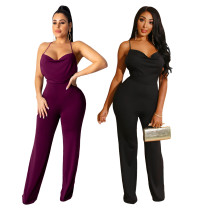 Sexy women's solid color strapless open-back jumpsuit SH7135