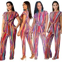 New Arrival Colorful Stripe Summer 2 Pieces Suits SY8326