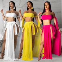 Solid color sexy wrapped chest straps split swimsuit with blouse beach half skirt skirt three-piece