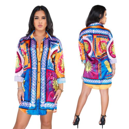 Mature Women Printing Shirt Casual Short Dress SMR9325