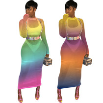 Mesh Women Gradient Color See Through Club Dress QQM3710