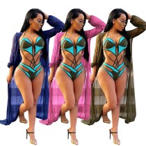 Bandage Sexy Swimwear Cardigan Long Sleeve Mesh Coat QQM3961