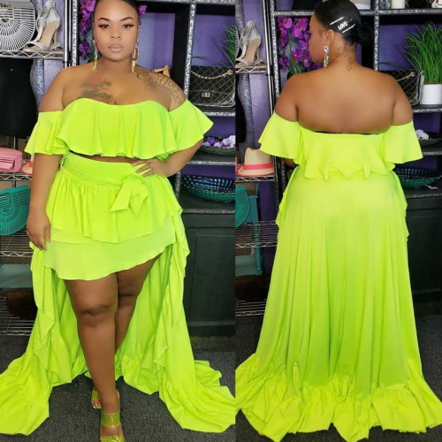 Ruffled one-shoulder top  short front  long tail  long skirt  two-piece suit OSS20663