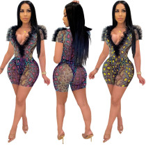 Deep V-neck mesh stitching snakeskin sexy two-piece suit LM8131