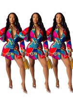 Casual Lady Turn Down Collar Shirt Printing Short Dress AMM8173