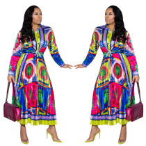 National Style Multicolor Outfits Long Sleeves Shirt Pleated Skirt YZ1835