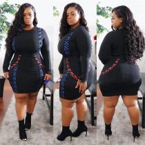 Oversized Women Corns Webbing Contrast Color Mini Fat Women Dress SJ6076
