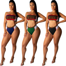 HOT-HOT Color Patchwork Bikini Sets Bandeau Top Swimming Panties RB3011