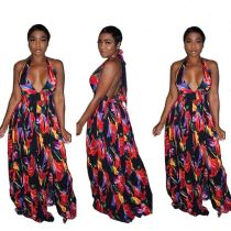 Sexy style boutique digital printed jumpsuit YS357
