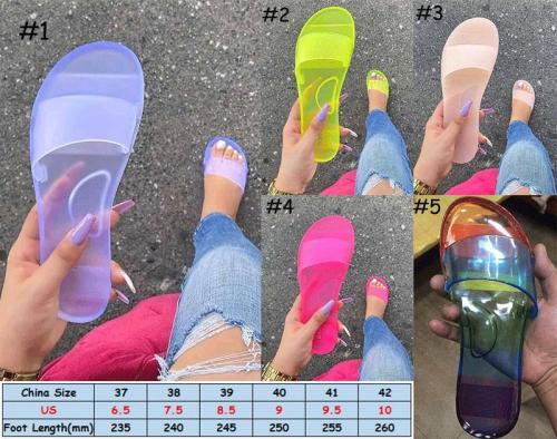 Women's shoes crystal frosted flat sandals and slippers women 37-42 HWJ114