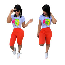 Newest Lady Shorts Suits Mouth Print T-Shirt Mid Pants N9100