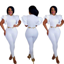 Elegant White Oversize Ruffle Sleeves Tight Jumpsuit ALS7438